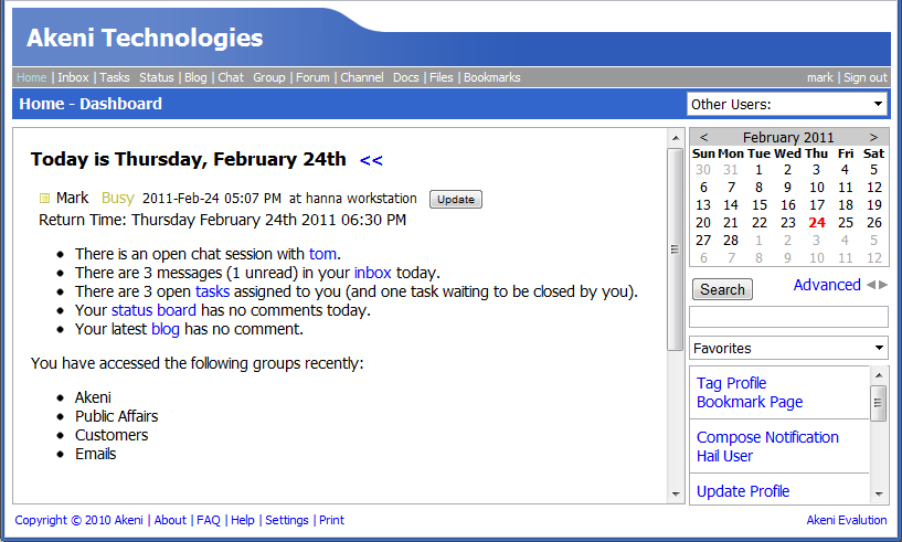 Akeni Social Networking Software screenshot